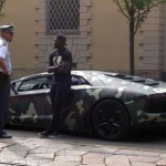 Sulley Muntari Stopped By Police While Driving His Camouflage Lamborghini