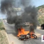 Watch Video: Motorcycle Set Ablaze After Highway Crash