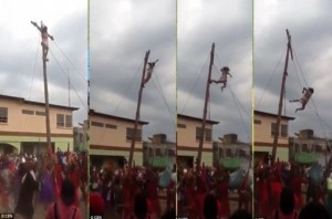 Jesus falls 13ft off a cross during crucifixion
