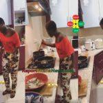 Watch Video: Fella Makafui Cooking Food For Medikal?